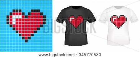 Pixel Heart T-shirt Print Stamp For Tee, T Shirts Applique, Fashion, Badge, Label Retro Clothing, Je
