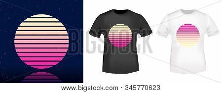 Retro Sun T-shirt Print Stamp For Tee, T Shirts Applique, Fashion, Badge, Label Retro Clothing, Jean