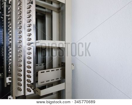 Empty Cable Rack For Telephony Connection Switch. Communication Technology Equipment Use In Data Cen
