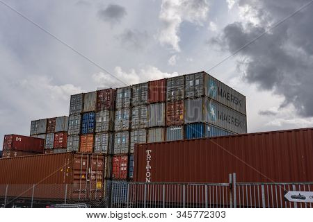 Editorial 09.01.2019 Kristiansand Norway Containers Stored In The Port While Waiting For Transport T