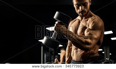 Crop Of Shirtless Male Bodybuilder Training Biceps With Dumbbell. Close Up Of Sportsman With Perfect