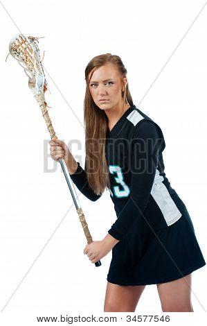 Girls lacrosse defender