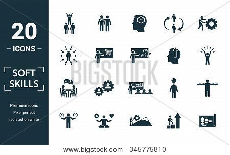 Soft Skills Icon Set. Include Creative Elements Team Spirit, Personality, Self-promotion, Motivating