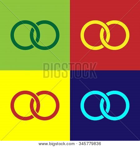 Color Wedding Rings Icon Isolated On Color Background. Bride And Groom Jewelery Sign. Marriage Icon.