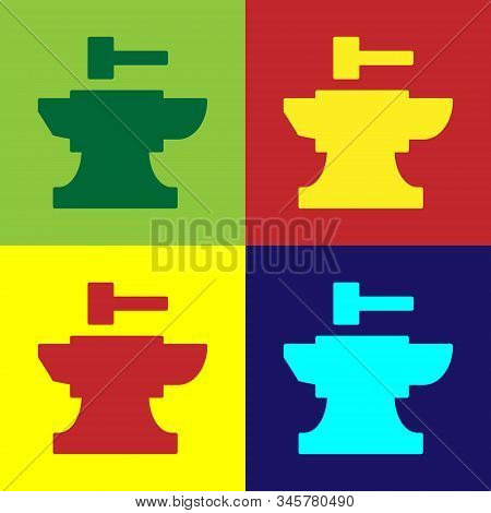 Color Anvil For Blacksmithing And Hammer Icon Isolated On Color Background. Metal Forging. Forge Too