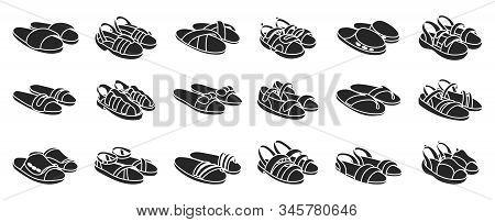 Fashion Sandal Vector Illustration Set On White Background . Summer Shoe Of Sandal Black Vector Set