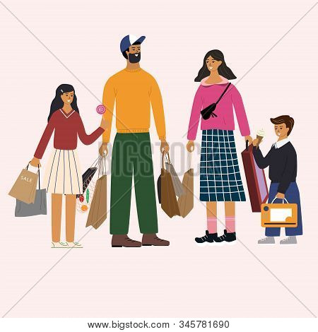 Happy Family Standing Together And Holding Bags With Purchases. Cute Dad, Mum, Daughter And Son Are