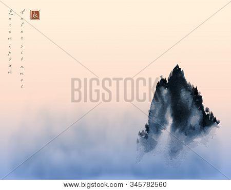 High Mountain Peak In Fog And Sunrise Sky. Traditional Oriental Ink Painting Sumi-e, U-sin, Go-hua.