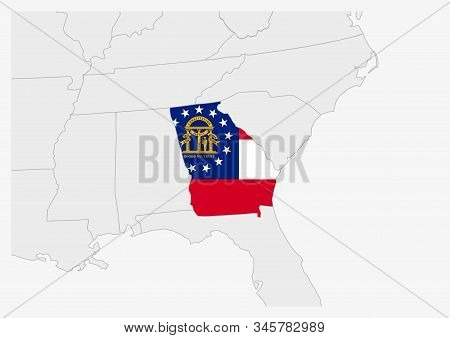 Us State Georgia Map Highlighted In Georgia Flag Colors, Gray Map With Neighboring Usa States.