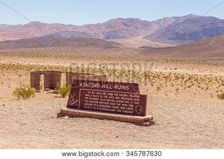 Death Valley, California, Usa- 02 June 2015: Ashford Mill Ruins, Remains Of An Ore Mine. Desert Hill