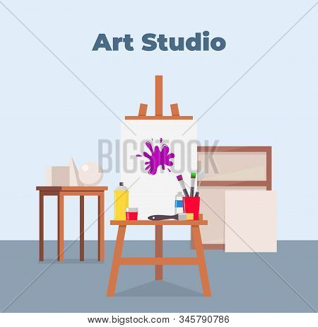 Art Studio Interior. Easel, Canvas, Paint And All Necessary Tools For Drawing. Beautiful Composition