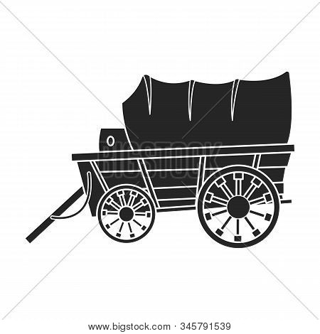 Wild West Wagon Vector Icon.black Vector Icon Isolated On White Background Wild West Wagon .