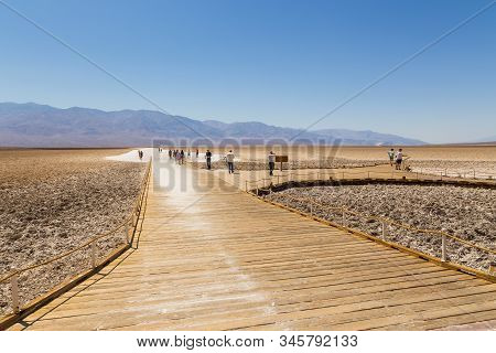 Death Valley, California, Usa- 02 June 2015: View Of The Badwater Basin, Endorheic Basin In Death Va