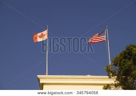 Surrey, British Columbia, Canada. Peace Arch. Triumphal Arch Dedicated To The Heroes Of Canada And T