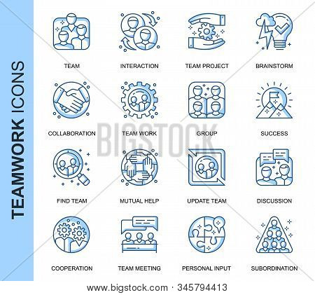 Thin Line Teamwork Related Vector Icons Set For Website And Mobile Site And Apps. Outline Icons Desi