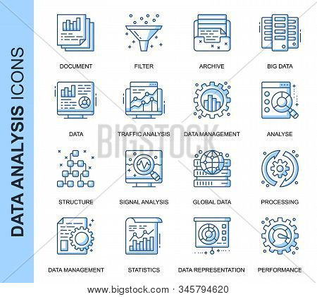 Thin Line Data Analysis Related Vector Icons Set For Website And Mobile Site And Apps. Outline Icons