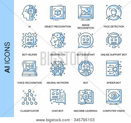 Thin Line Artificial Intelligence Related Vector Icons Set For Website And Mobile Site And Apps. Out