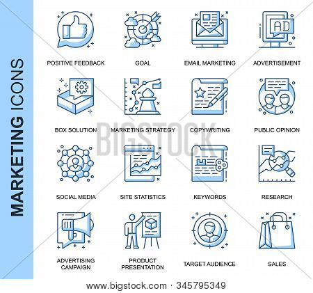 Thin Line Marketing Related Vector Icons Set For Website And Mobile Site And Apps. Outline Icons Des