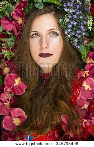 colorful flowers, pure skin and dark lipstick