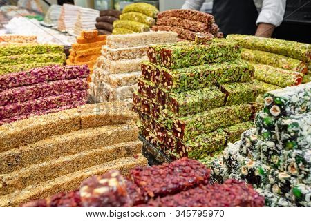 Assorted turkish delight sweets in the shop. Traditional sugar coated soft turkish candies