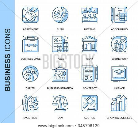 Thin Line Business Related Vector Icons Set For Website And Mobile Site And Apps. Outline Icons Desi