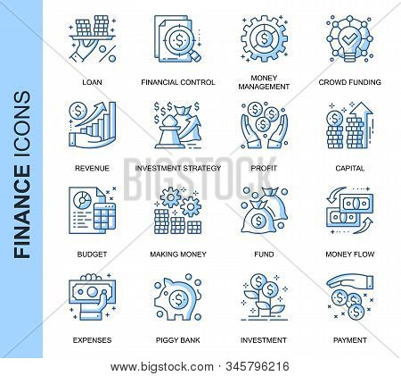 Thin Line Finance Related Vector Icons Set For Website And Mobile Site And Apps. Outline Icons Desig