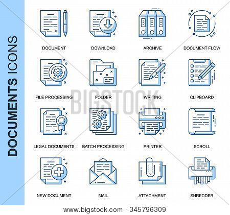 Thin Line Document Related Vector Icons Set For Website And Mobile Site And Apps. Outline Icons Desi