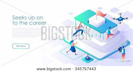 Seek Up On To Career Isometric Landing Page Vector Template