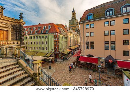 Dresden, Germany - September 22, 2014: Old Street With Frauenkirche Cathedral In Dresden, Germany. C