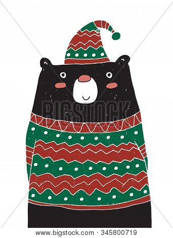 Cute Vector Illustration With Funny Black Bear Wearing Warm Hat With A Pompom And Red-green Sweater.