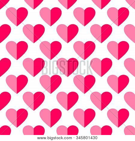 Heart Seamless Pattern. Love, Valentines Day, Wedding, Romantic Symbol. Paper Style Pink, Red Hearts