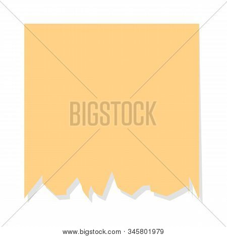 Colorful Yellow Torn Note Sheet. Vector Isolated Notepaper