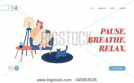 Loneliness, Relaxation Website Landing Page. Young Woman Sitting On Cozy Armchair At Home Sleeping W