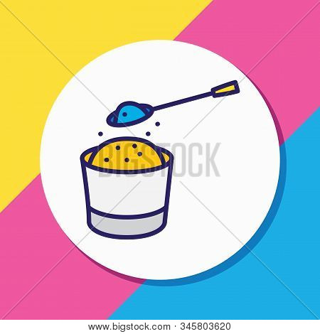 Vector Illustration Of Soda Spoon Icon Colored Line. Beautiful Kitchenware Element Also Can Be Used