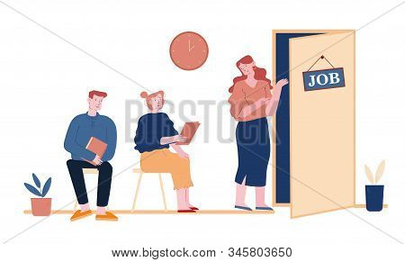 Recruitment, Job Interview Concept. Unemployed People Searching Job. Man And Woman Applicants With C