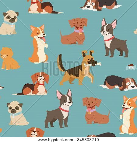 Dogs And Puppies Different Breeds Wrapping Paper With Husky, Bulldog, Schnuzer, Spaniel Vector Seaml