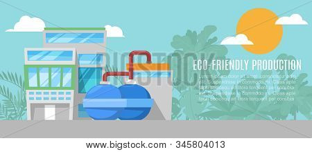 Geothermal Energy Eco Friendly Production Plant Vector Illustration. Eco Friendly Geothermal Energy