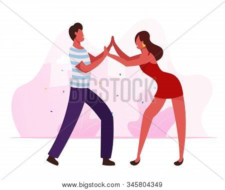 Young People Dancing Samba On Brazil Dance Disco Party Or Rio Carnival. Man And Woman In Fashioned C