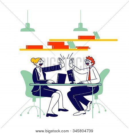 Man And Woman Colleagues Sitting At Desk Giving Highfive To Each Other After Goal Achievement Or Suc