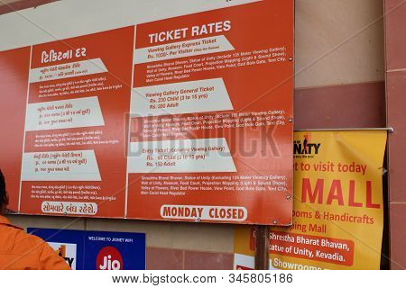 Kevadia, Gujarat - December 17, 2019: Statue Of Unity Ticket Price Notice Board.