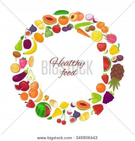 Healthy Food With Organic Fruits And Vegetables In Circle Isolated On White Background Vector Illust
