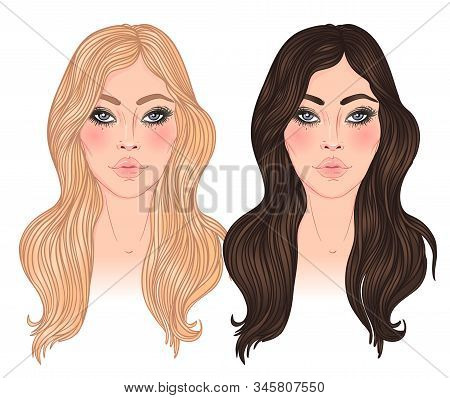 Two Vector Woman, Blonde And Brunette With Long Hair Isolated On White. Young Caucasian Girls.