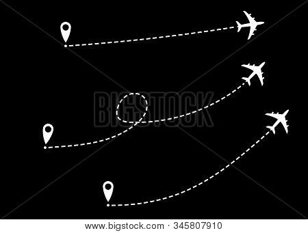 Set Icons Airplane Line Path Route. Aircraft Route Dotted Lines. Tourism And Travel. Tourist Route B