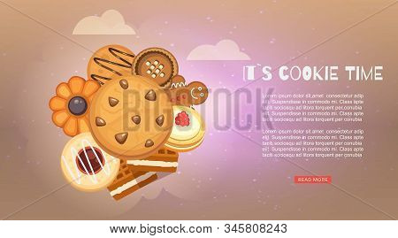Cookies With Jam, Gingerbread, Chocolate Chip Cookie, Homemade Biscuit Vector Illustration Web Banne