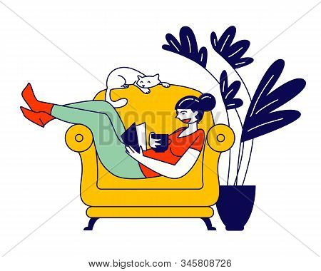 Reading Books Hobby. Young Woman Sitting On Cozy Armchair At Home Read Interesting Book With Cat Sle