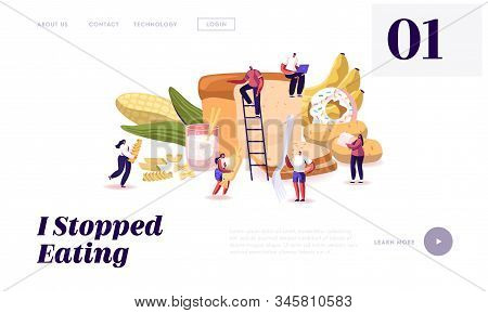 Carbohydrate Nutrition Website Landing Page. Tiny Characters Eating Sugar And Wheat Food. Healthy An