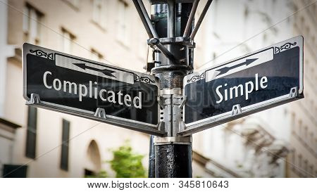Street Sign The Direction Way To Simple Versus Complicated