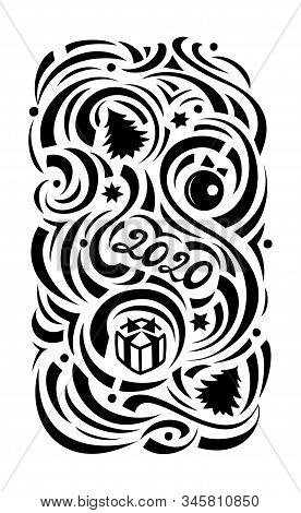 Christmas. Black Ornament On A White Background, Flat. Illustration For Plotter Cutting, Stencil, En