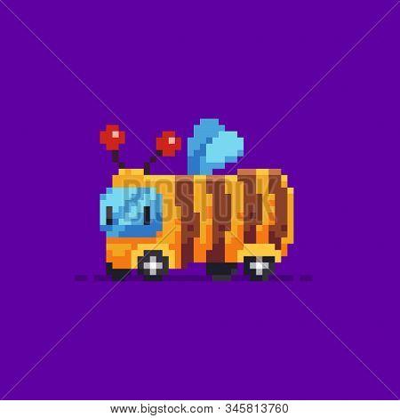 Pixel Art Cute Bumblebee Bus Character On Purple Background
