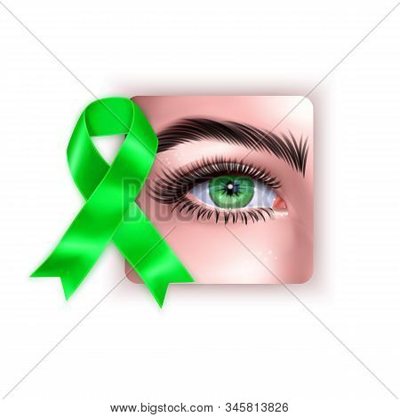 Illustration Of World Glaucoma Day Background With Realistic Eye And Green Ribbon Isolated On White